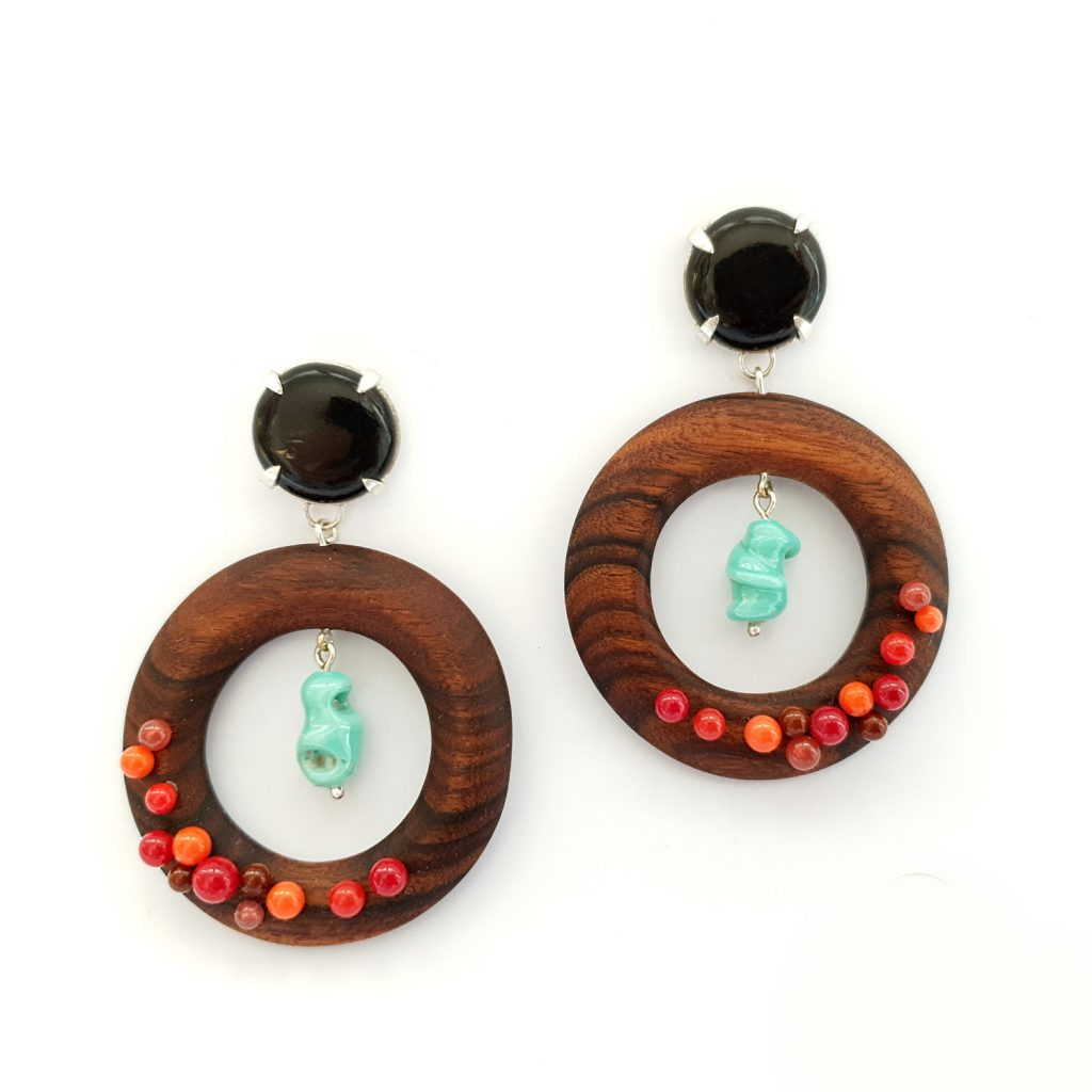 Earrings-wood-greencoral-red-1